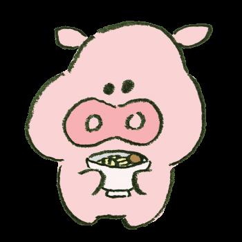 とんこつラーメンを持っている豚のイラスト