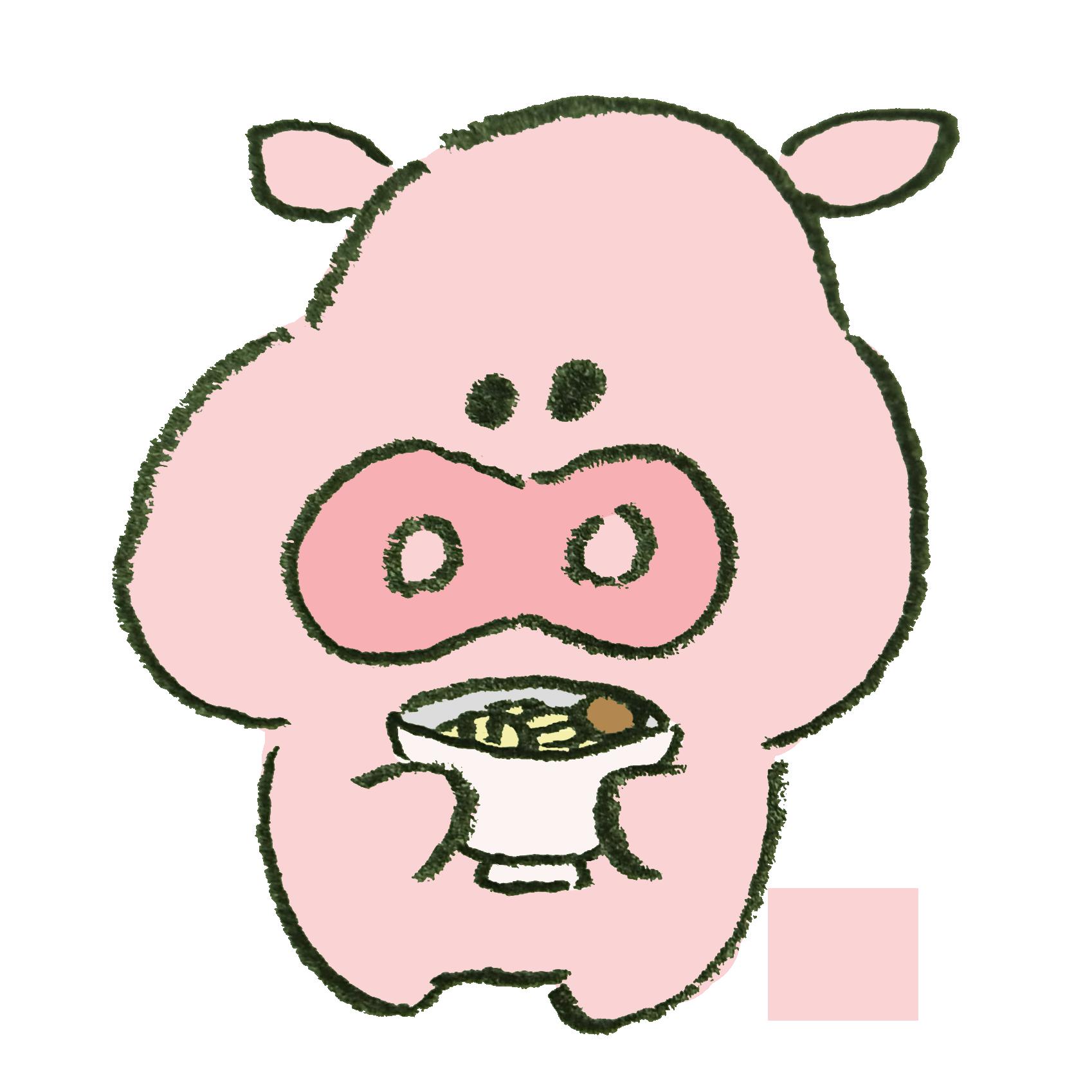 とんこつラーメンを持っている豚