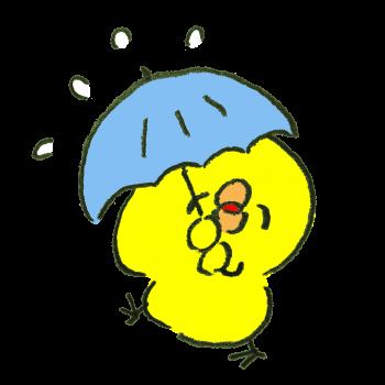 雨を楽しめるタイプのひよこのイラスト