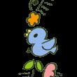 青い鳥の縦ライン