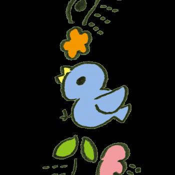 青い鳥の縦ラインのイラスト