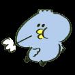 満腹になってげっぷをする青い鳥