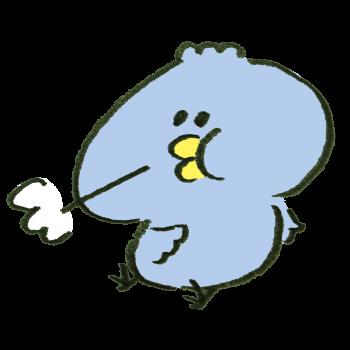 満腹になってげっぷをする青い鳥のイラスト