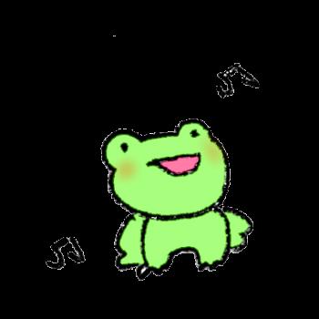 雨が降って上機嫌なカエルのイラスト