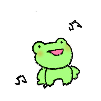 雨が降って上機嫌なカエル