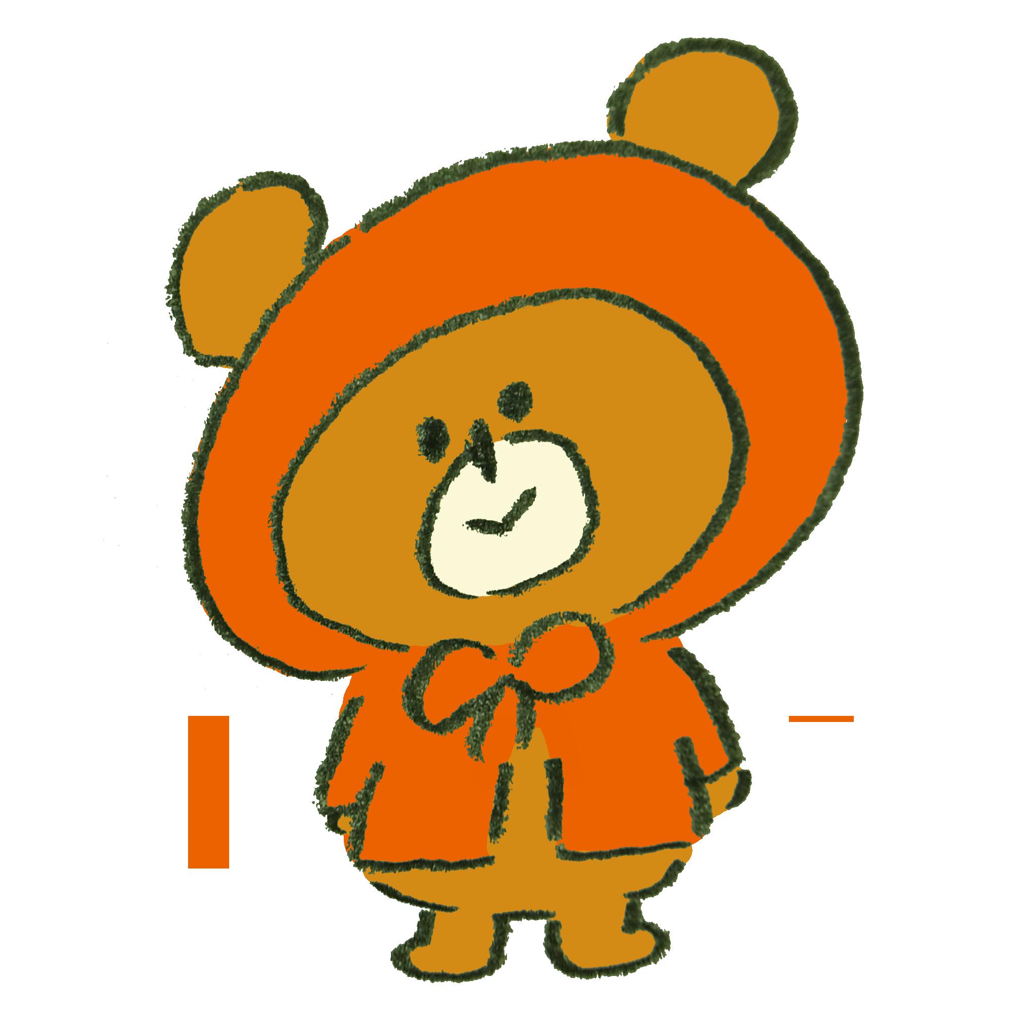雨合羽を着た熊