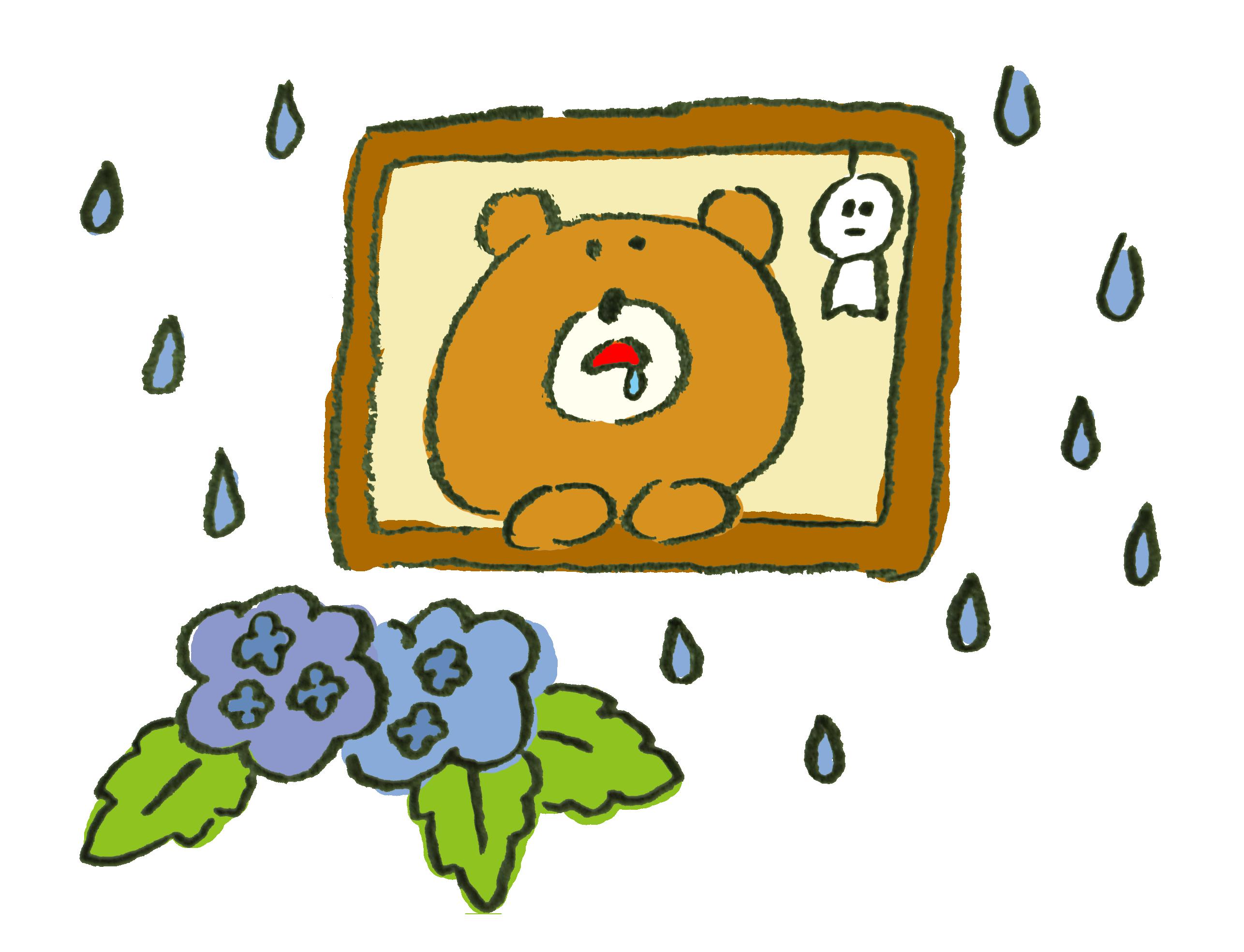 梅雨に退屈すぎて死にそうな熊