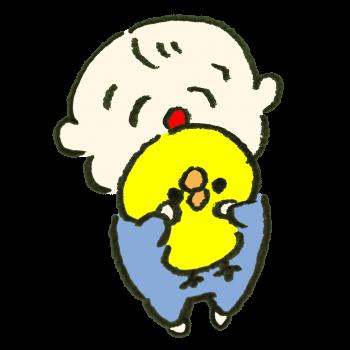 ひよこのぬいぐるみを抱いて喜ぶ赤ちゃんのイラスト