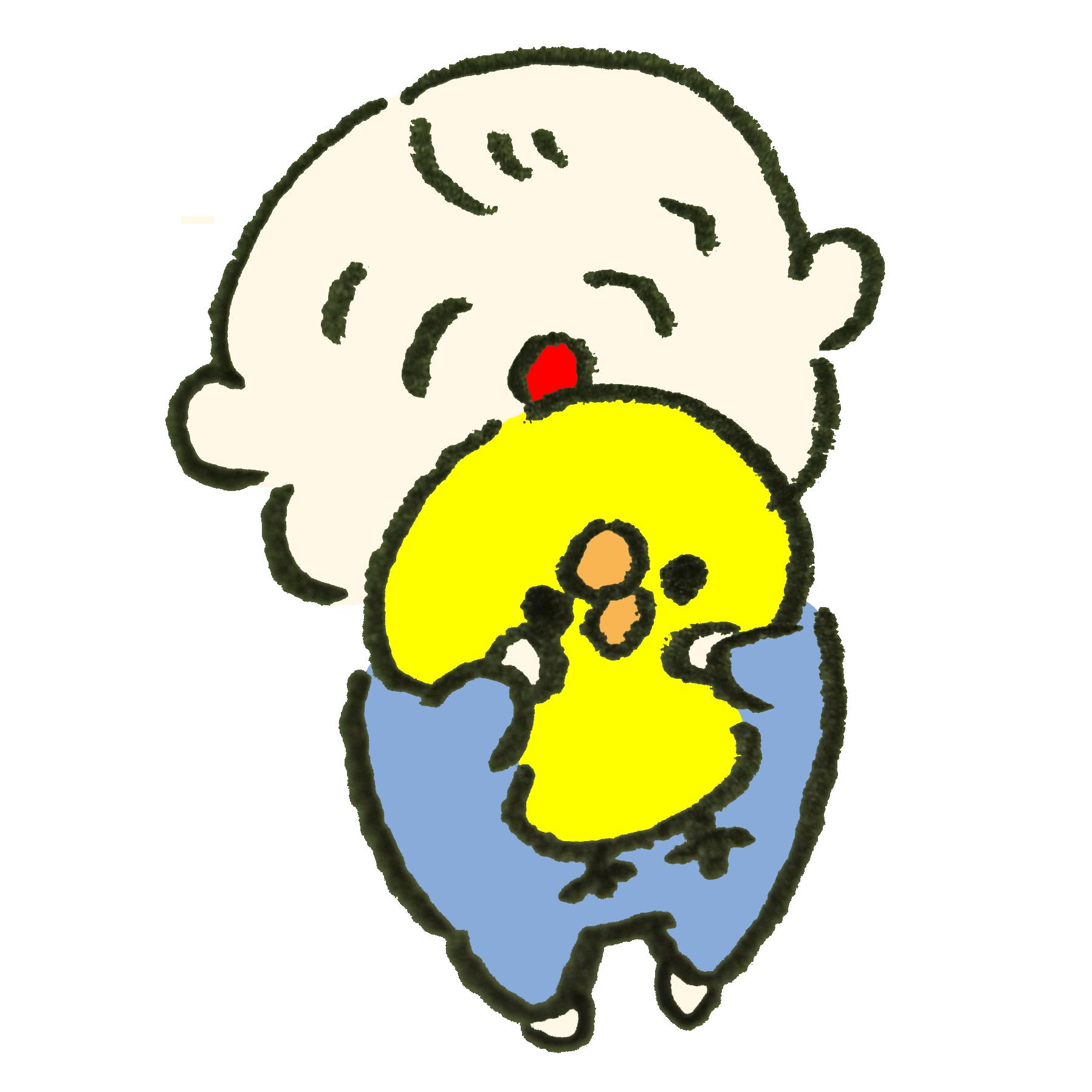 ひよこのぬいぐるみを抱いて喜ぶ赤ちゃん