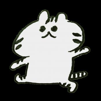 歩くトラ模様の猫のイラスト