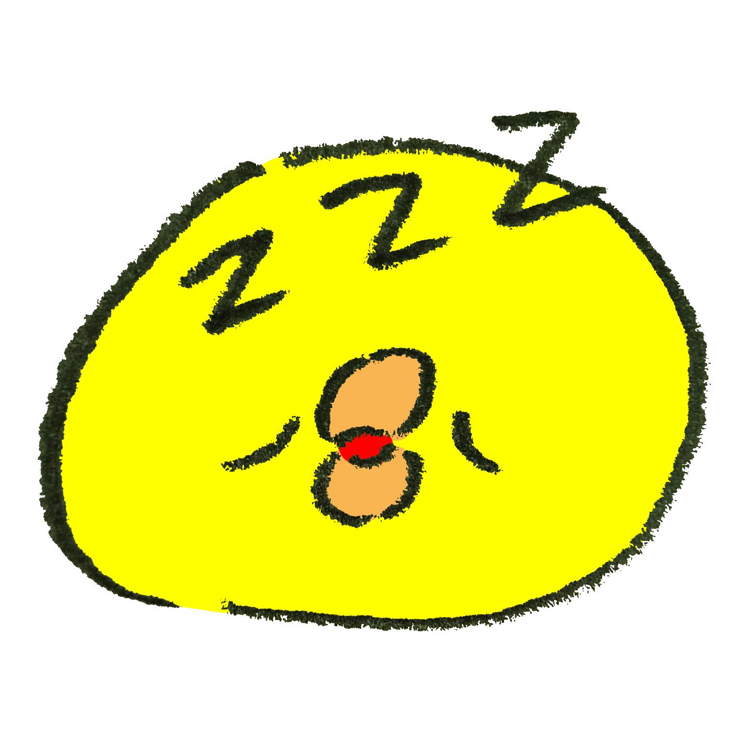 絵文字風の眠っているひよこ