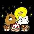 ひよこと熊とうさぎでお祝いをしているイラスト