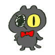 眼帯をつけた黒猫という中二病感満載のセット
