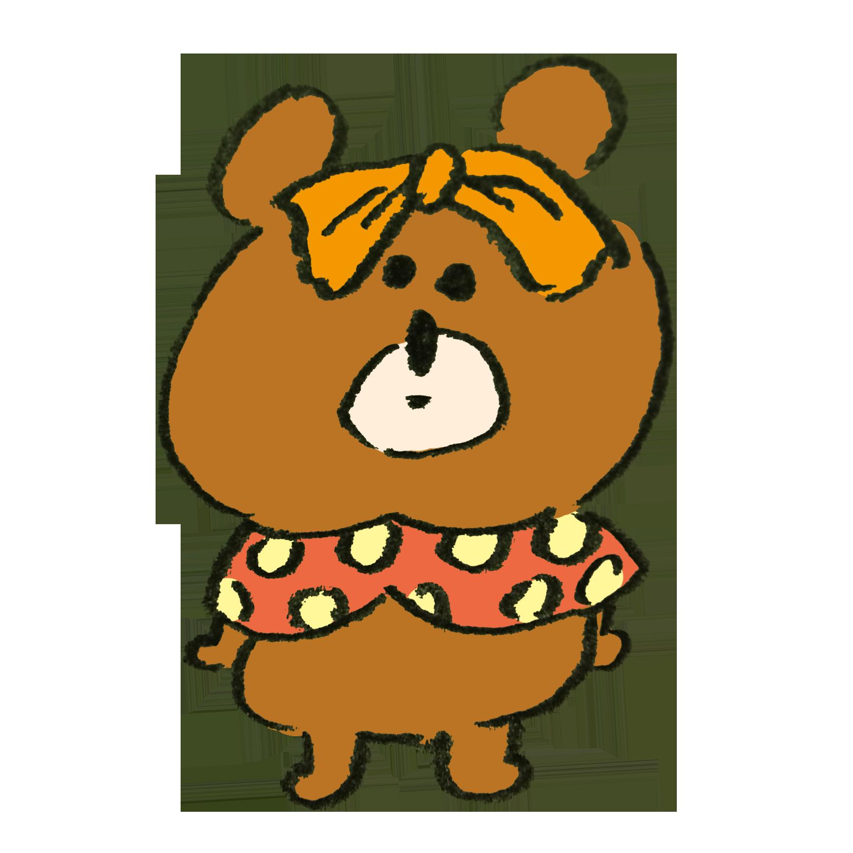 似合わないコスプレ衣装を着て歩く熊