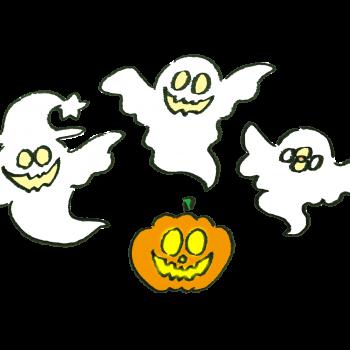 かぼちゃから召喚されるオバケたちのイラスト