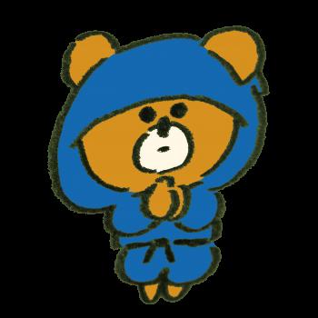 忍術を使う忍者の熊のイラスト