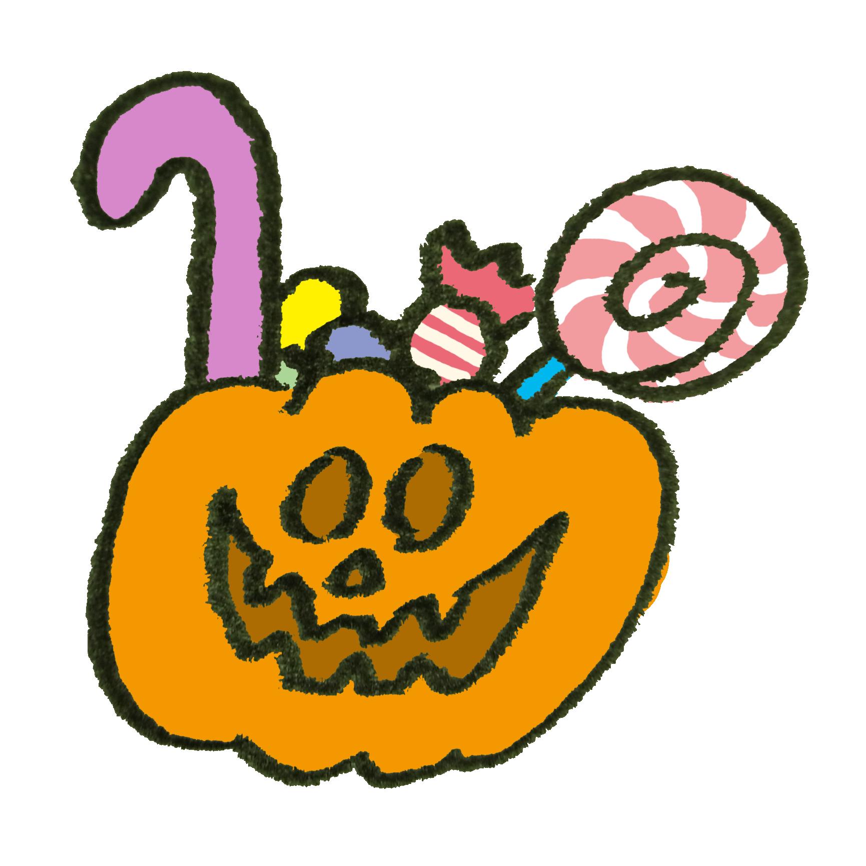 ハロウィンにそなえてオバケかぼちゃの中にお菓子をぎっしり詰め込んだ