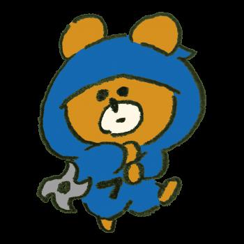 軽やかに手裏剣を投げる忍者熊のイラスト