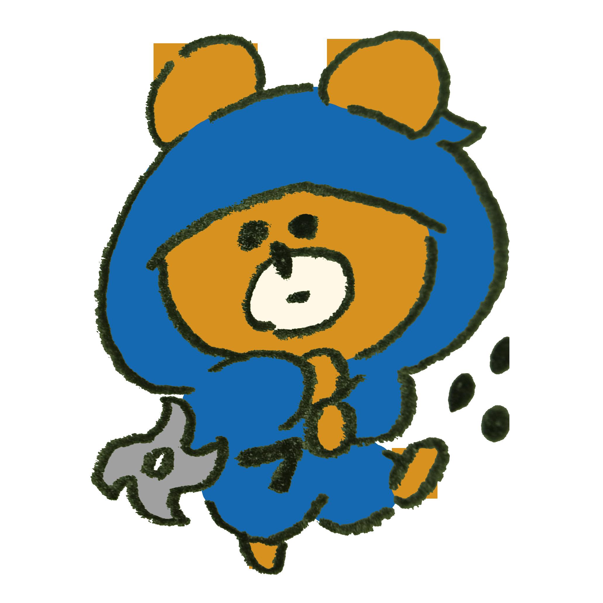 手裏剣を投げる忍者熊