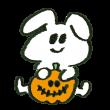オバケかぼちゃを仕込むウサギ