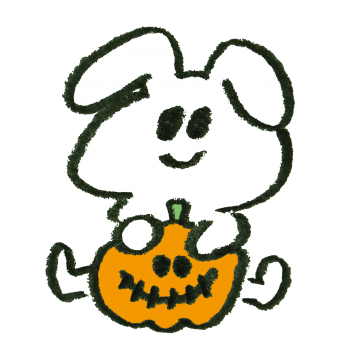 オバケかぼちゃを仕込むウサギのイラスト