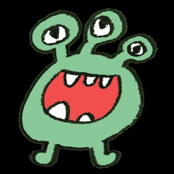 緑色の目が3つのモンスターのイラスト