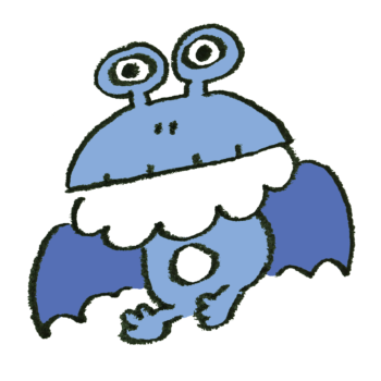 カエル顔でこうもり羽のモンスターのイラスト
