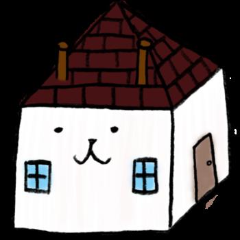 顔のついた家のイラスト