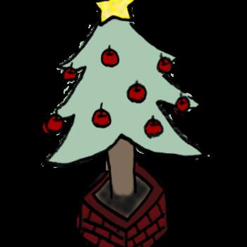 りんごの飾りがいっぱいついたクリスマスツリーのイラスト
