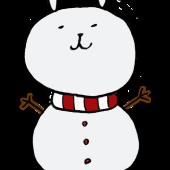 うさぎの顔をした雪だるまのイラスト