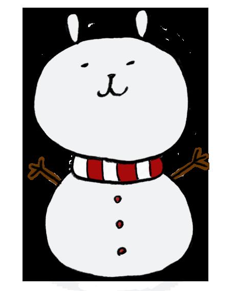 うさぎの顔をした雪だるま