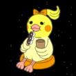 団子を食べるオカメインコ