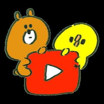 Youtube風アイコンにのぼる熊とひよこ