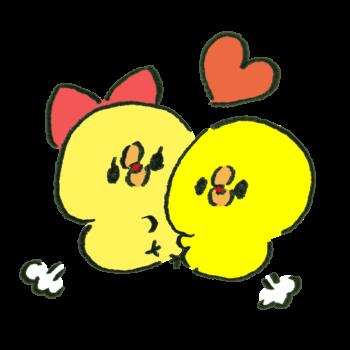 抱き合って喜ぶカップルのひよこ