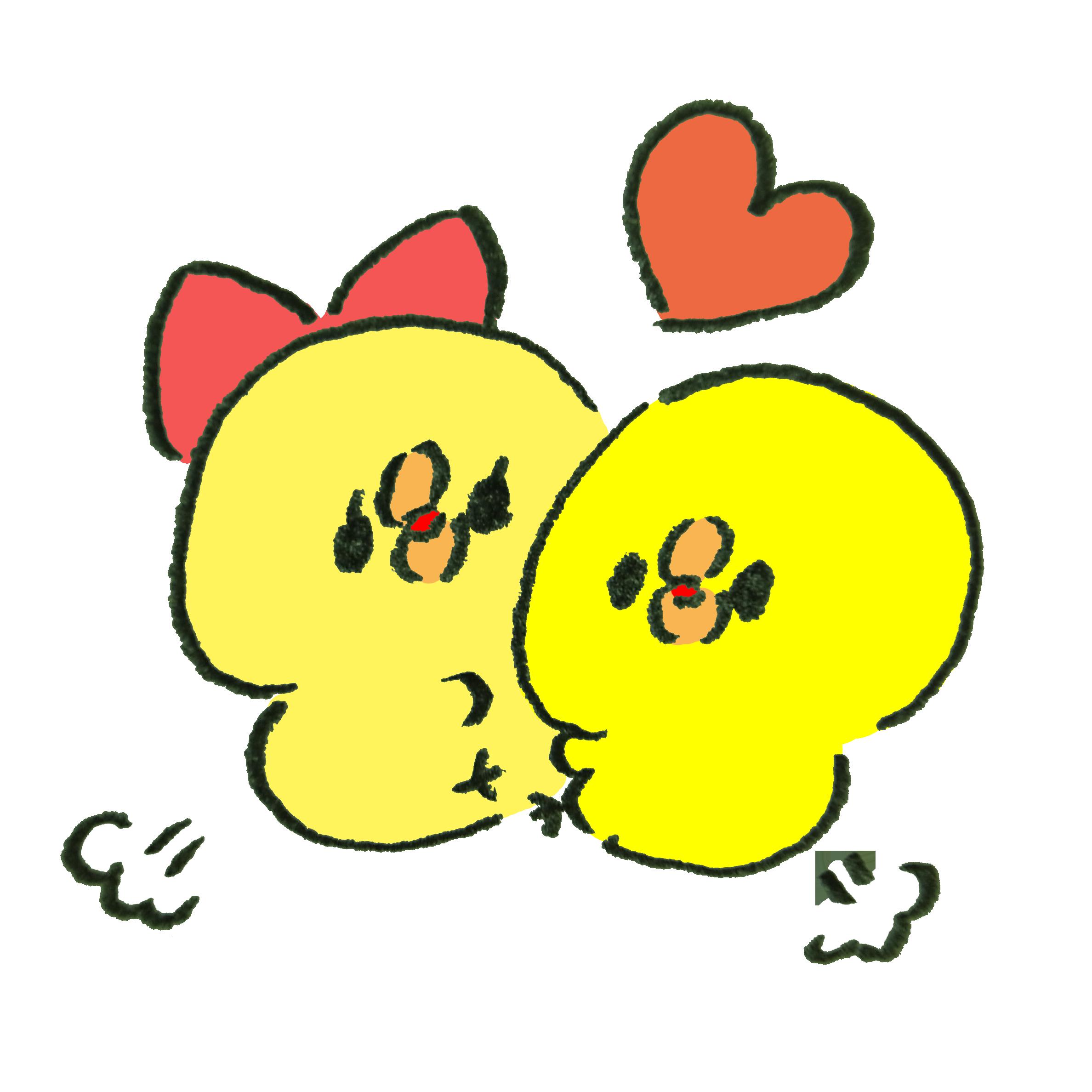 抱き合って喜ぶカップルのひよこ | ゆるくてかわいい無料イラスト素材屋