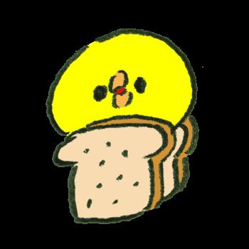 食パンに挟まれたひよこ