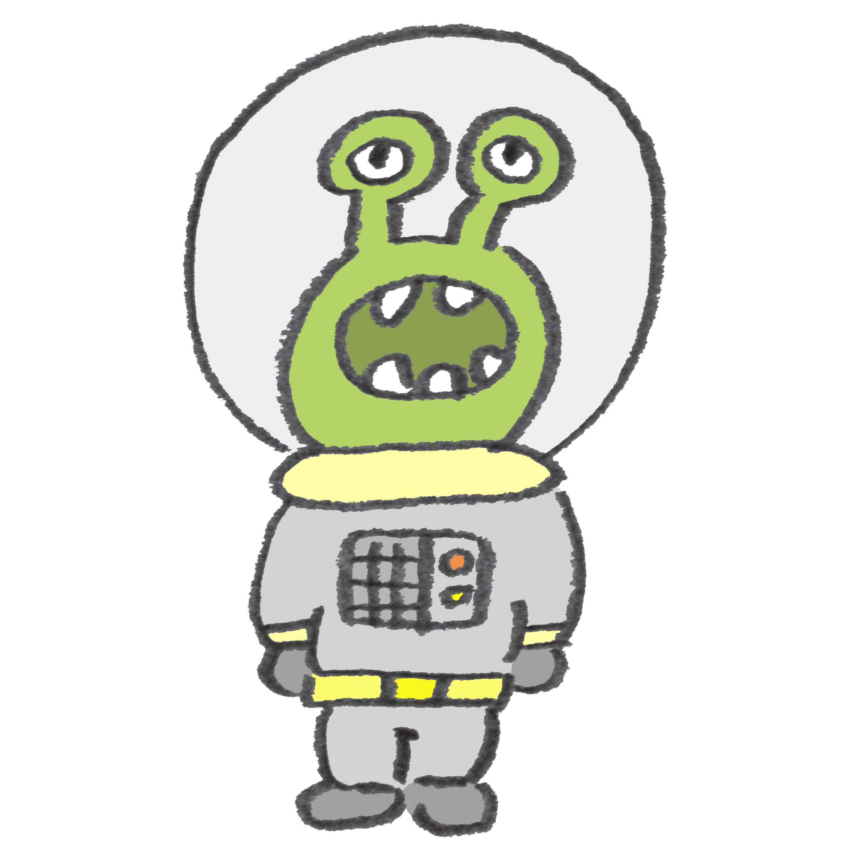 緑色の宇宙人のイラスト ゆるくてかわいい無料イラスト素材屋ぴよたそ