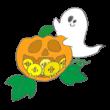 ひよこがいっぱい詰まったかぼちゃを運ぶおばけ