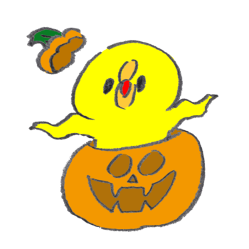 かぼちゃから突然飛び出て驚かしてくるひよこ
