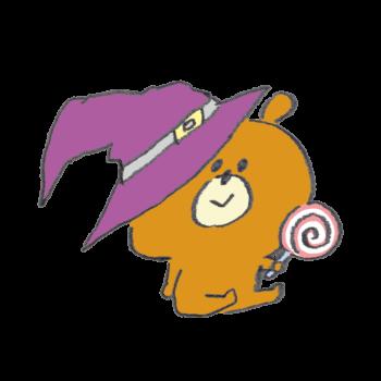 ハロウィンのコスプレをしてキャンディーを食べるベアー