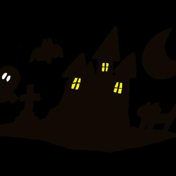 ハロウィンの背景で使われがちなお城とかお墓とかのシルエット