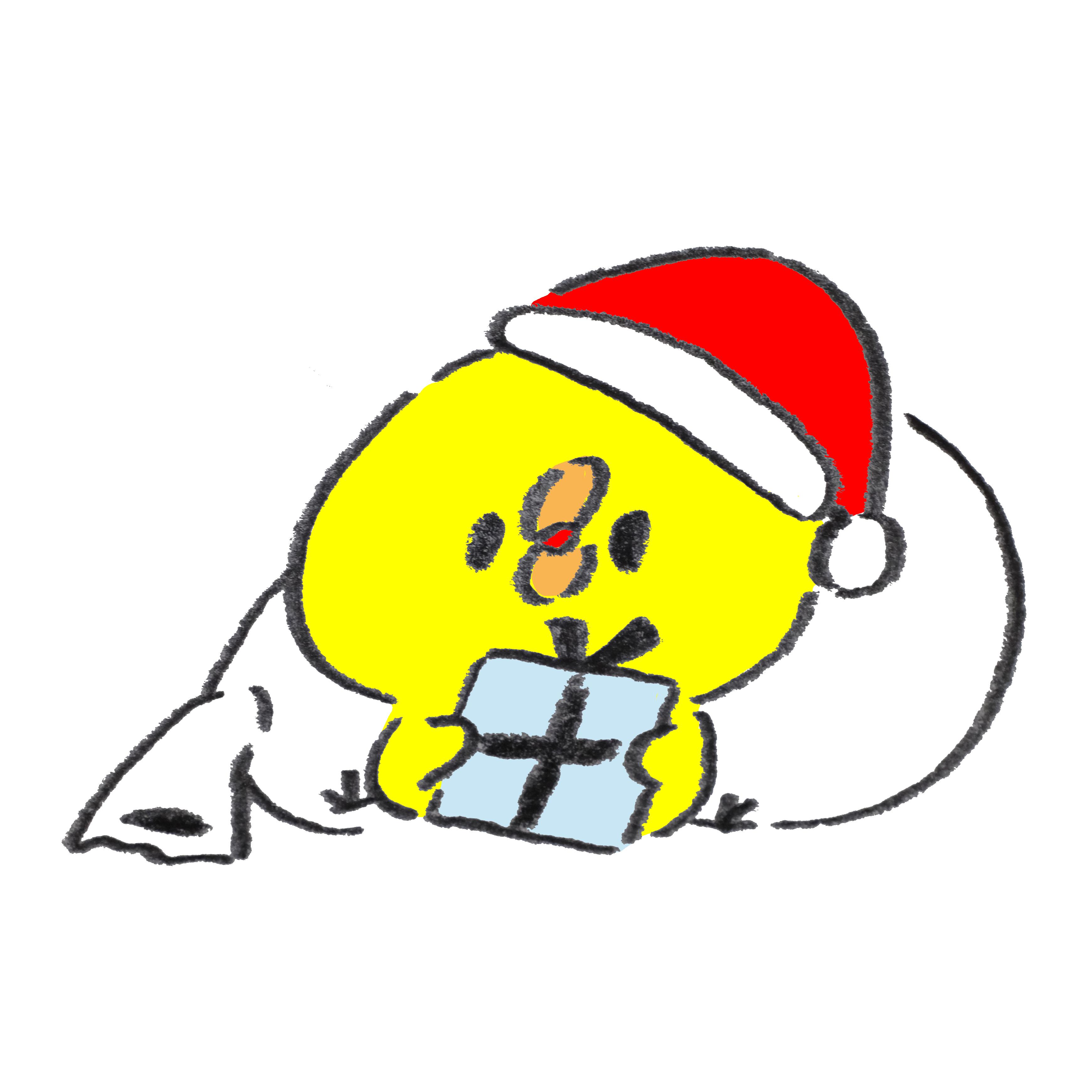 クリスマスプレゼントをもらったひよこ