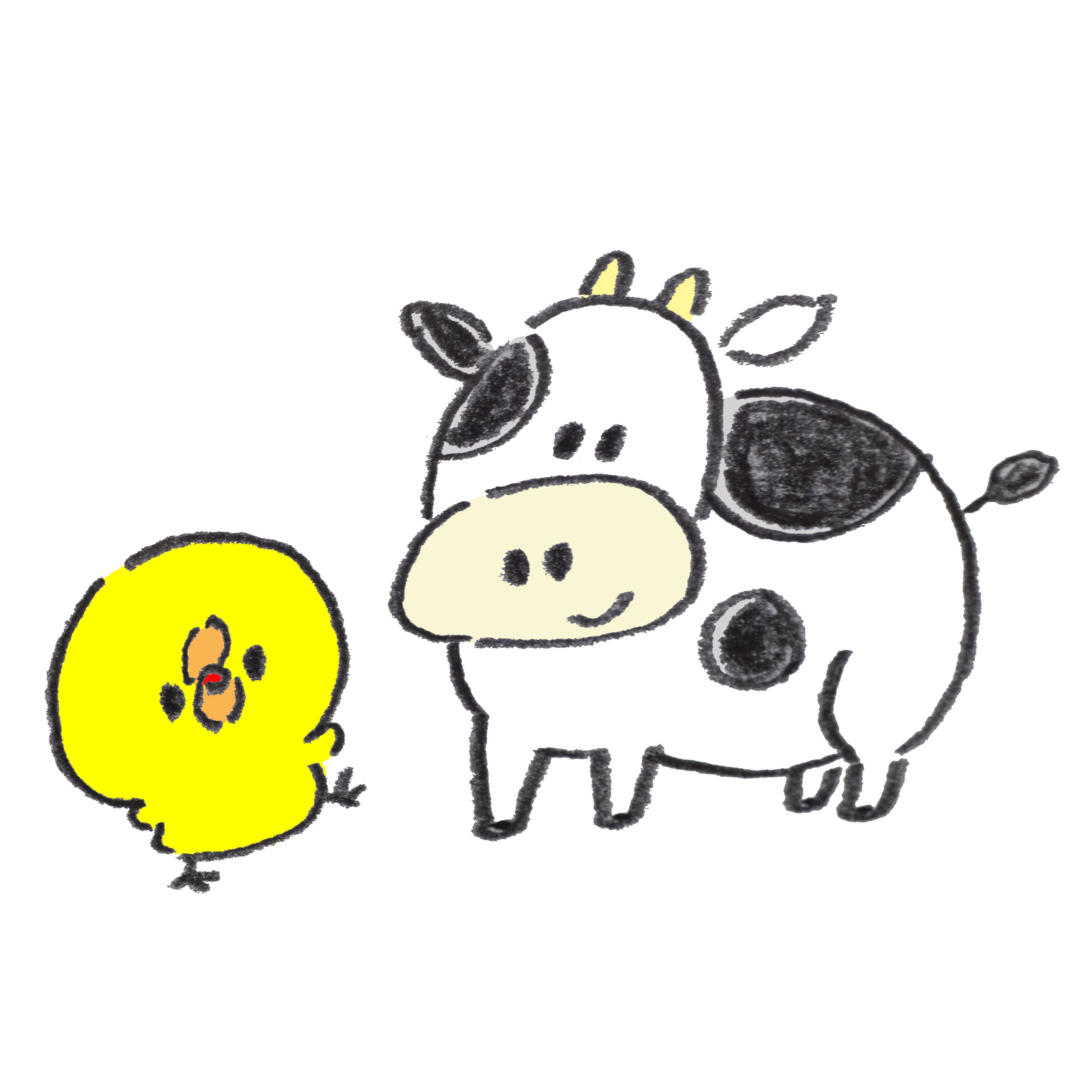 牛を見てはしゃぐひよこ