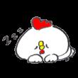 昼寝をしているニワトリ