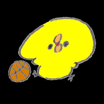 バスケットボールをプレイするひよこ