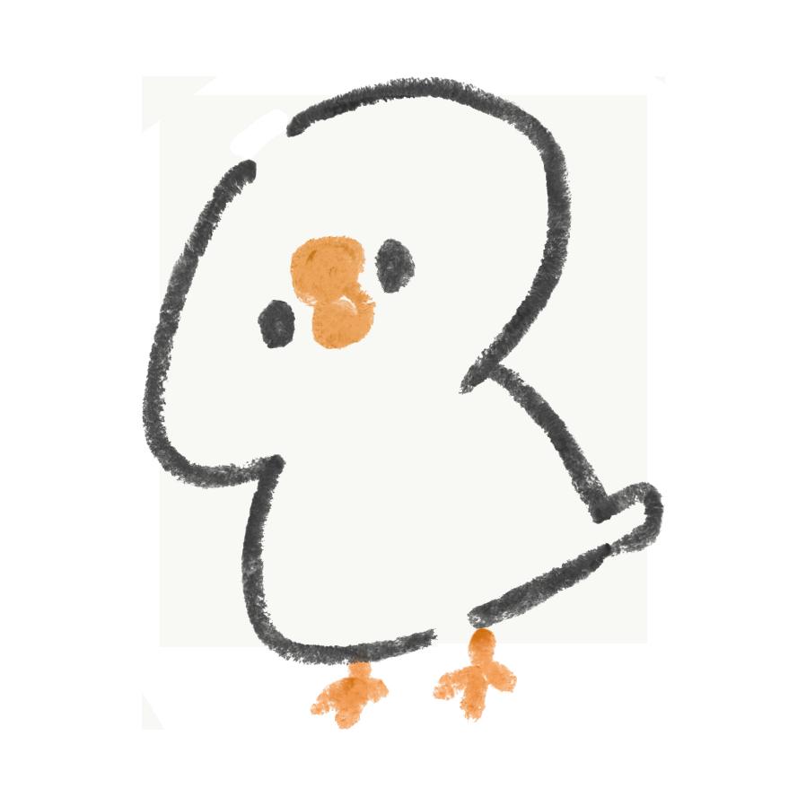 頭でかめの白い文鳥
