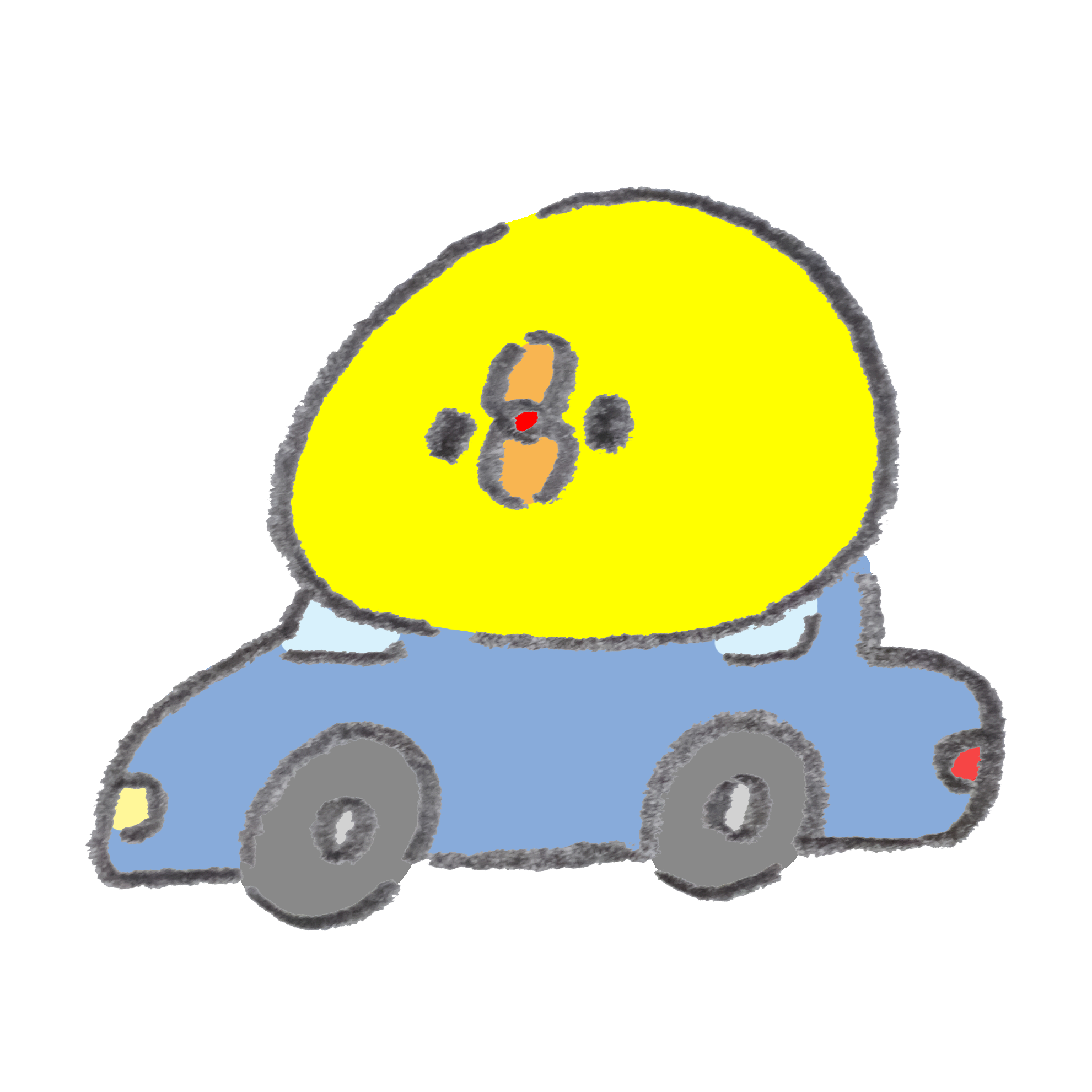 車でドライブをしているひよこ