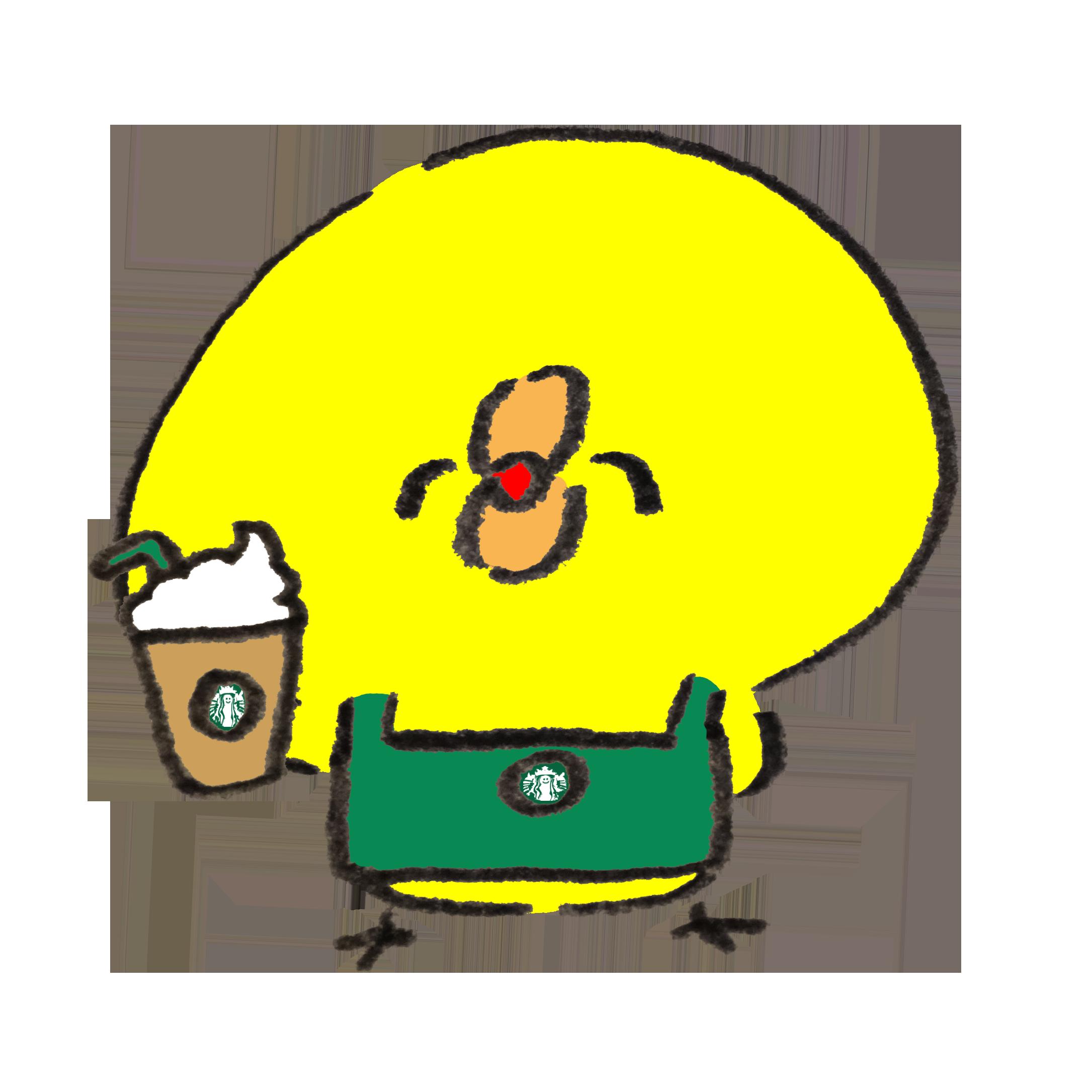笑顔でコーヒー飲料をすすめてくるひよこのカフェ店員