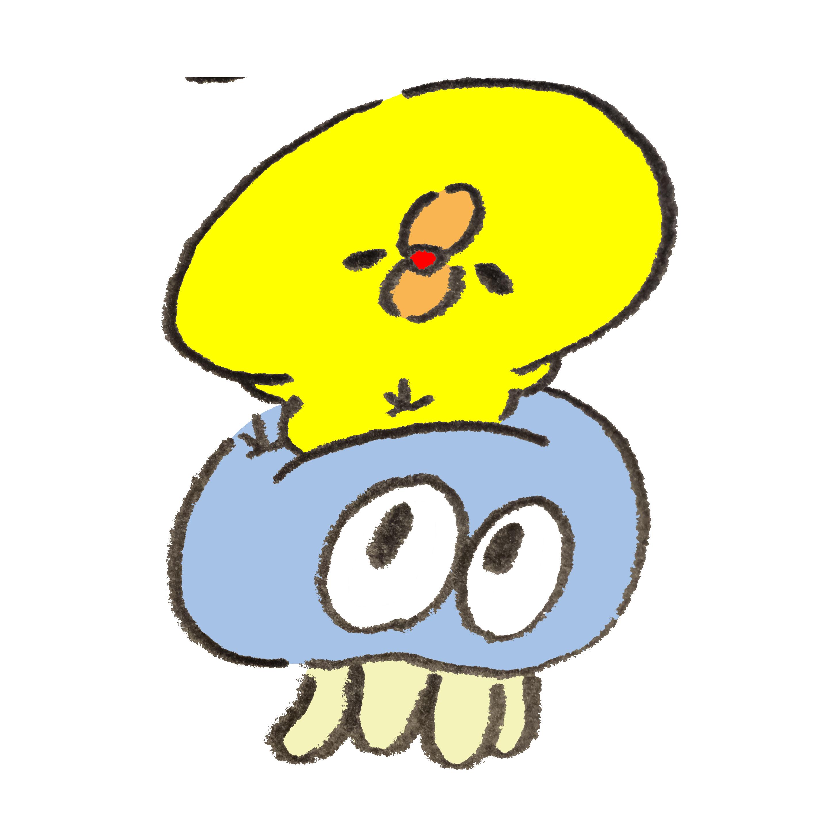 クラゲの上でくつろぐひよこ
