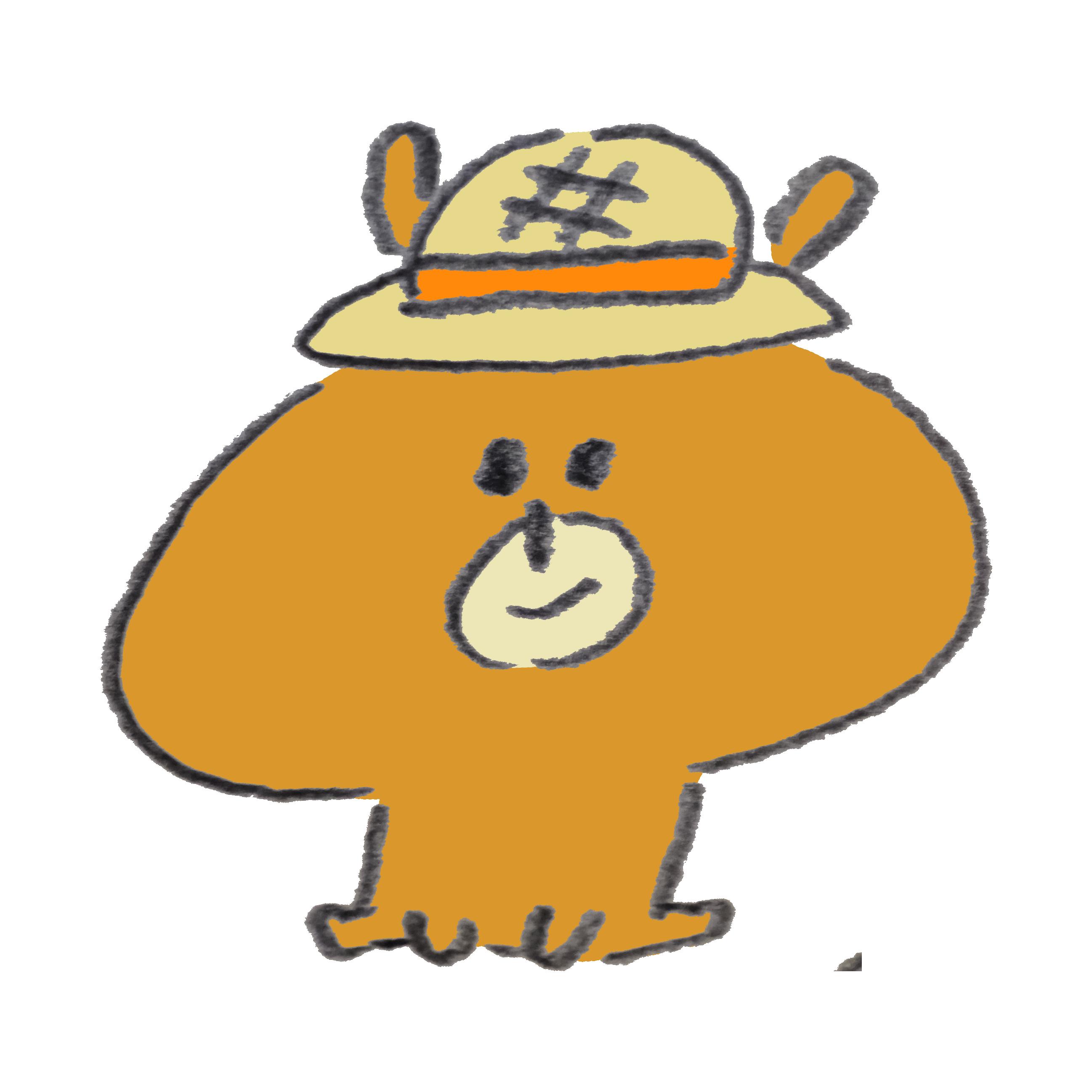 麦わら帽子の熊